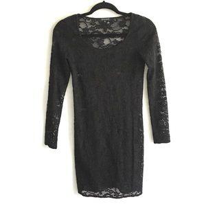 ARITZIA Lace Long Sleeve Black Mini Dress S
